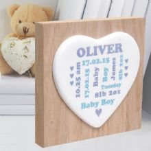 New Baby Ceramic Heart on Wooden Block - Unique Personalised Baby Keepsake Gift